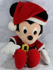 RETRO 1988 PLAYSCHOOL WALT DISNEY MICKEY MOUSE CHRISTMAS SANTA PLUSH DOLL  16""