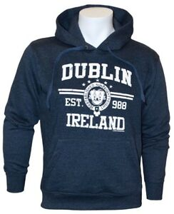 Pullover Hoodie With Dublin Ireland Est 988 & Dublin Crest Print, Navy Colour