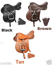 All Purpose Beginner English Leather Saddle 16 17 18 Black Brown Tan Package