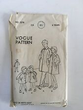 Vintage 1950 VOGUE 2578 pattern Girl or boy's coat size 4 years