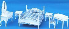Wooden White Bedroom Doll House Furniture Set