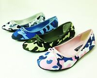 New Women's Camouflage Flats Fashion Bow Ballet Canvas Slip-on Dolly Shoes Sizes