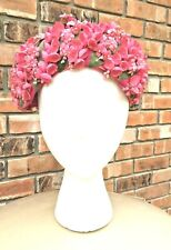 "Antique ""Valerie Modes"" Ladies Hat Pink Lily Of The Valley Flower Millinery Rare"