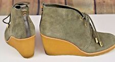 56771ff77c5 Tory Burch Suede Wedge Ankle Boots Size 8 M Steampunk Sage Green Logo Lace  Up