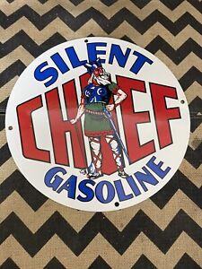 "VINTAGE 12"" SILENT CHIEF GASOLINE VIKING PORCELAIN SIGN GAS OIL PUMP PLATE"