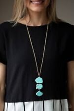"""NEW PAPARAZZI """"ON THE ROAM AGAIN"""" GOLD TURQUOISE NECKLACE"""