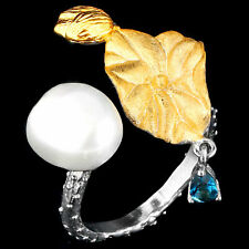 NATURAL 11X9MM BAROQUE PEARL & LONDON BLUE TOPAZ HANDMADE SILVER 925 RING SIZE 8