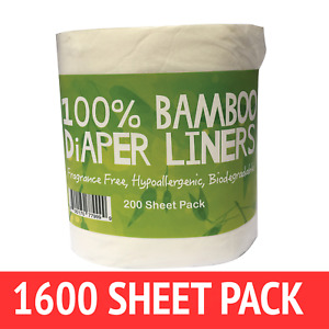 Bamboo Nappy Liners insert Biodegradable Anti-Bacterial 8 Rolls = 1600 sheet