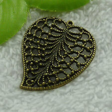 Free Ship 60 pieces bronze plated leaves pendant 44x34mm #2560