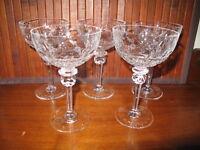 """Set of 4 Rogaska GALLIA Cut Crystal Wine Glasses 5.75"""" tall"""