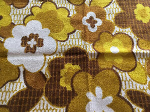 """Vintage 70s Flower Power Harvest Gold Screen Print Upholstery Fabric 50"""" X 16"""""""