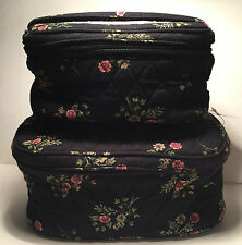 Quilted Keepers Travel Cosmetic Hand Bags Set of 2 Black with Flowers NWT