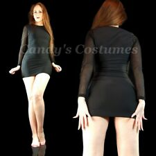 BASIC Little BLACK Dress MESH Long SLEEVE Mini SHEER Sides BODYCON Clubwear M