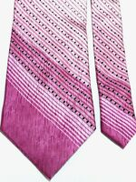 "LAURANT BENON PARIS FRANCE Men's Tie 58"" X 4"" 100% Silk Pink Gray Black Striped"