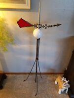 "Vintage Copper Lightning Rod White Globe Red Arrow Weather Vane 50"""
