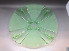 Large Green Pressed Glass Plate / Dish