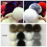Lovely 12x Fluffy 10cm Faux Fox Fur PomPom Ball Car Handbag Keychain Key Ring