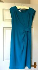 MONSOON Sleeveless Dress Turquoise lined Crepe , ruched at waist UK10/EU38 VVGC