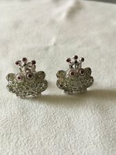 Sterling Silver Frog With Peridot And Ruby Earrings