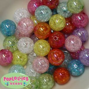 20mm Mixed Colors of Crackle Style Acrylic Chunky Bubblegum Beads  20pc lot