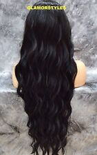 "40"" Long Beach Wavy Layered Off Black Full Lace Front Wig Heat Ok Hair Piece"