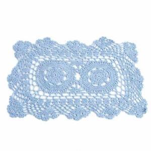 Light Blue Rectangle Cotton Hand Crocheted Lace Doilies