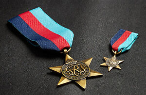 Replica 1939-1945 Star Medals. Full Size & Miniature. Campaign/Military WW2