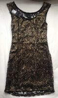 dress gold bronze black metallic size 8 small new with tags mini fitted lined