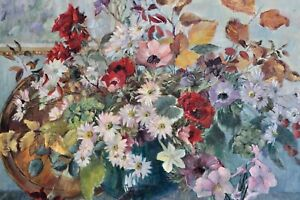 Stunning Oil On Canvas- Impressionist- Flowers in Glass vase