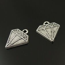 60pcs Antiqued Silver Vintage Alloy Diamond Shape Pendant Charms 38162