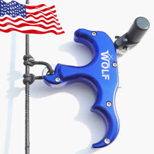 Blue Archery Bow Release Aids Thumb Grip Caliper Trigger 3 Finger AUTOMATIC