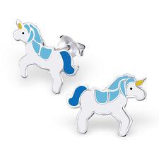 925 Sterling Silver Blue Unicorn Ear studs Earrings Pegasus Horse Girls Boxed W2