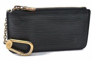 Authentic Louis Vuitton Epi Pochette Cles Coin Case Black M63802 LV D7684