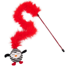 Cat Kitten Toy Premium Catnip Mouse Teaser Feather Striped Penguin Play Fun Wand