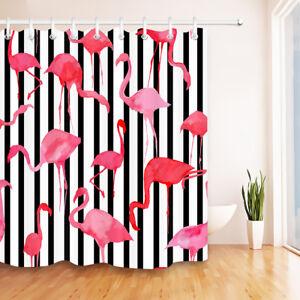 "Black & White Striped Watercolor Flamingo Design 60x72"" Fabric Shower Curtain"