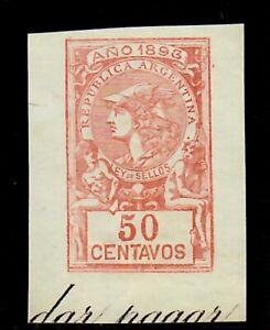 1893 Antique Argentina Ley De Sellos 50 Centavos Stamp Law Revenue