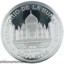 SPAIN 2000 PESETAS 1996 RARE SILVER PROOF TAJ MAHAL UNESCO WORLD HERITAGE Z215