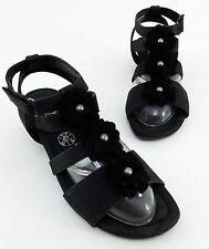 Damen-Sandalen & -Badeschuhe im T-Riemen-Stil aus Echtleder ohne Muster für Mittlerer Absatz (3-5 cm)