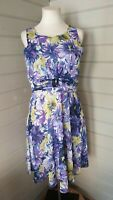 WALLIS Purple Yellow Floral Chiffon Floaty Fit & Flare Dress 14 Wedding Occasion
