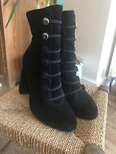 River Island Black Suede Button Boots  6 Steampunk # Goth # Victorian#