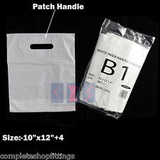 More details for new white patch handle carrier gift retail shopping plastic bags for retail shop