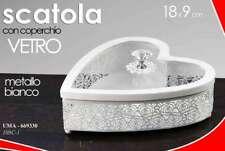 SCATOLA CUORE IN METALLO E COPERCHIO IN VETRO COLORE BIANCO 18X9 CM UMA-669330