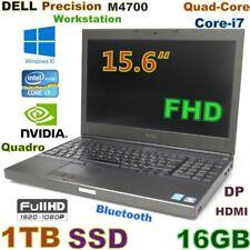 """New listing Workstation Dell M4700 i7-Quad Fast 1Tb Ssd 16Gb 15.6"""" Fhd Quadro 2Gb"""