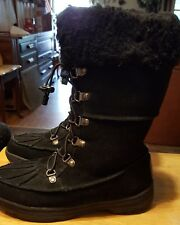 Bear Paw womens boots fur lined black size 6 suede with laces nice