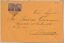 ITALIA REGNO: storia postale - Sass 57 coppia su BUSTA da MILANO a BRESCIA 1890