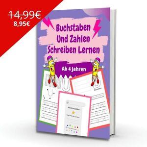 ABC Buchstaben & Zahlen Schreiben Lernen Malen ab 4, Lernbuch für Kinder ✅
