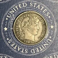 1902 Barber Silver Dime. Collector Coin For Your Set Or Collection.