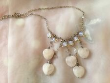 """Gorgeous Pearly Blue Beads White Glass Hearts Necklace very Pretty 16"""""""