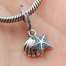 S925 Sterling Silver Tropical Starfish Shell Dangle Charm Pendant Fit Bracelet