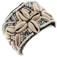"1 1/2"" HANDMADE BEACH COWRY SHELL WHITE SILVER CREAM GLASS SEED BEADS bracelet"